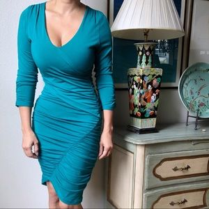 TART • Teal Ruched V-Neck Dress Size M